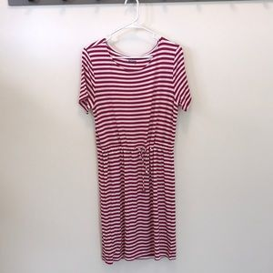 Pink and white striped nautical dress
